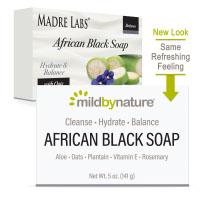 Mild By Nature, африканское черное кусковое мыло, с овсом и плантаном