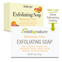 Mild By Nature, отшелушивающее мыло, с маслами марулы, таману и ши, с цитрусовым ароматом
