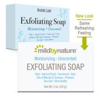 Mild By Nature, отшелушивающее мыло, с маслами марулы, таману и ши, без запаха