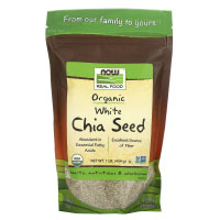 Now Foods, Real Food, органические белые семена чиа