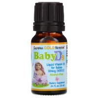 California Gold Nutrition, Витамин D3 в каплях для детей, 400 МЕ