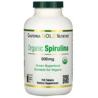 California Gold Nutrition, органическая спирулина, имеет сертификат USDA, 500 мг, 720 таблеток