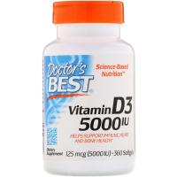 Doctor's Best, Витамин D3, 125 мг (5000 МЕ)