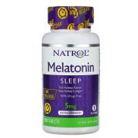 Natrol, Мелатонин, медленное высвобождение, с повышенной силой действия, 5 мг