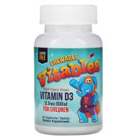Vitables, Детская жевательная добавка с витамином D3, ароматизатор черешня, 12,5 мкг (500 МЕ)