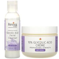 Reviva Labs, Крем с 10% гликолевой кислотой и очищающее средство для лица с гликолевой кислотой