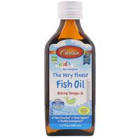 Carlson Labs, Для детей, норвежская серия, самый лучший рыбий жир, натуральный ароматизатор со вкусом лимона, 800 мг