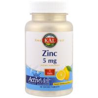 KAL, Цинк, Сладкий лимон, 5 мг