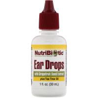 NutriBiotic, Ушные капли с экстрактом косточек грейпфрута и маслом чайного дерева