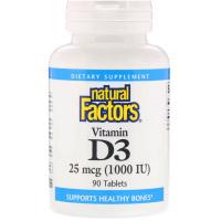 Natural Factors, Витамин D3, 25 мкг (1000 МЕ)