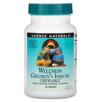 Source Naturals, Детские жевательные пастилки для поддержки иммунитета Wellness